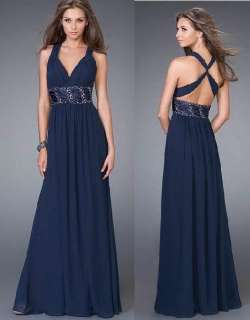 HOT Navy blue Evening/Formal gown/Prom dress all size