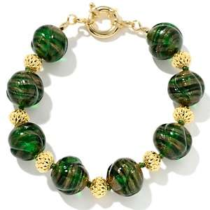 Murano Glass Green Swirl 8 Bead Bracelet