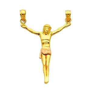 14K Yellow and Rose 2 Two Tone Gold Jesus Body Crucifix