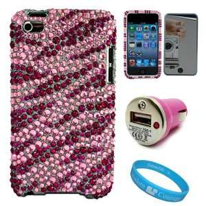 Crystal Case For Apple iPOD Touch 4th Generation + Pink USB Car