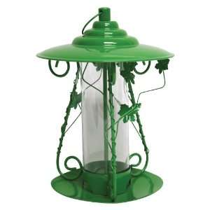 Heath Decorative Floral Mixed Seed Bird Feeder Metal Green