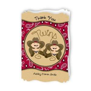 Twin Little Cowboys   Personalized Baby Thank You Cards