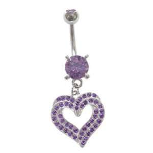 Double Purple Paved Hearts Many Gems dangle Belly navel Ring piercing