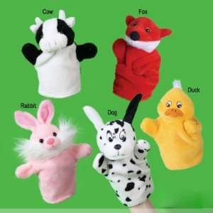 55pcs/lot animal hand puppet rabbit dog cow duck fox