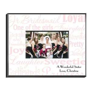 Favors Personalized Junior Bridesmaid Pink on White Picture Frame
