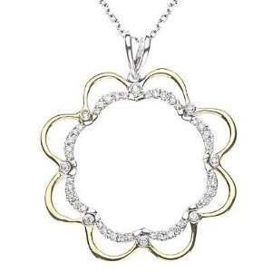 Diamond Pendant in 14k Two tone Gold with Chain 16 (0.32cttw, F Color