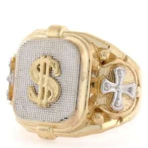 14K Two Tone Gold Religious Cross Dollar Mens Ring Jewelry