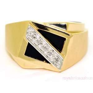 Mens Onyx & Diamond Ring 14K Yellow or White Gold Jewelry