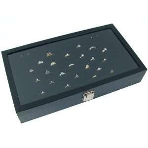 Ring Display Case Black Box Tray Showcase XL Arts, Crafts & Sewing