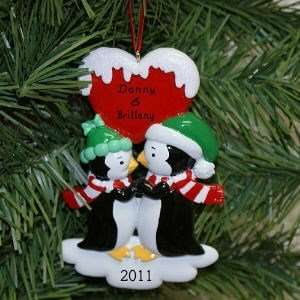 Penguin Kisses Personalized Christmas Ornament
