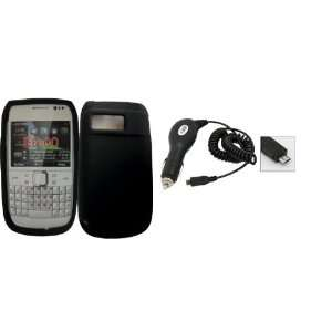 Black silicone skin case cover pouch with car charger for Nokia E6