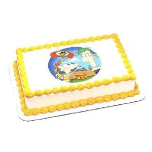 Phineas and Ferb Birthday Cake Decoration   Edible Icing