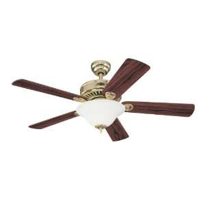 Light 52 Inch Five Blade Ceiling Fan, Polished Brass with Frosted