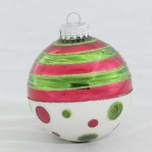 Club Pack of 24 Red/Green Polka Stripe Dot Christmas Ball