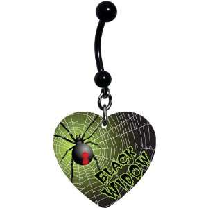 Heart Black Widow Spider Belly Ring Jewelry