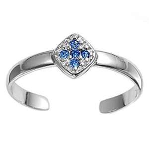 Sterling Silver Fashion Toe Ring   Cross with Blue Sapphire CZ   2mm