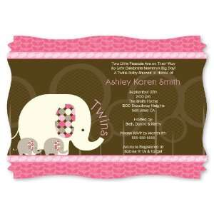 Twin Pink Baby Elephants   Personalized Baby Shower Invitations