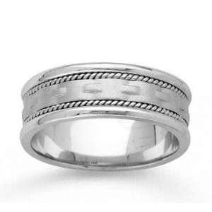 14k White Gold Modern Braided Hand Carved Wedding Band Jewelry