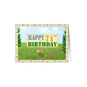 Happy 71st Birthday Sign on Footpath Card  Toys & Games