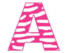 ZEBRA PINK ALPHABET LETTER NAME WALL STICKERS DECALS