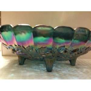 Indiana Blue Carnival Glass Bowl
