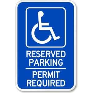 Reserved Parking Permit Required (handicapped symbol