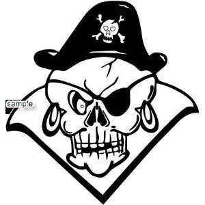 CAPTAIN PIRATE HAT WITH EARRINGS SKULL WHITE VINYL DECAL